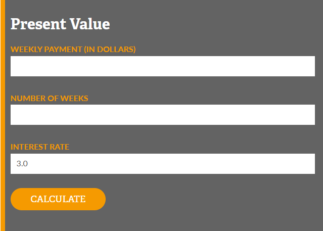 Number of Weeks, Present Value, and Life Expectancy Calculators Now Available